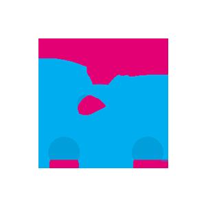 A blue and magenta future car icon