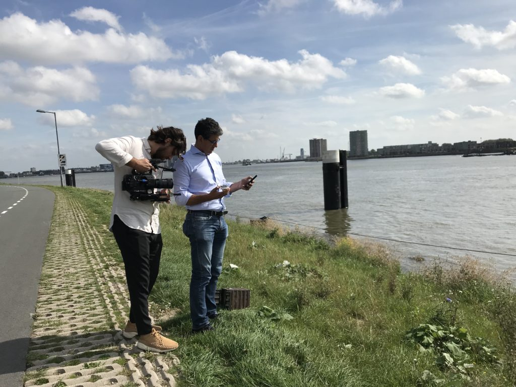 Robin Puthli, CEO and founder of Babbler, testing his prototype in the field