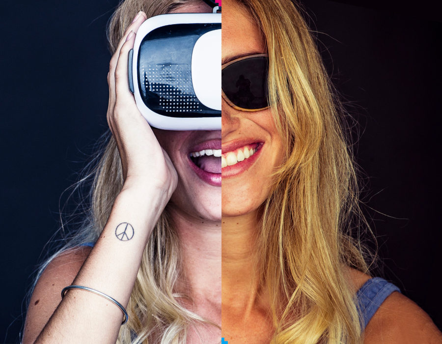Picture of a blond woman with VR glasses